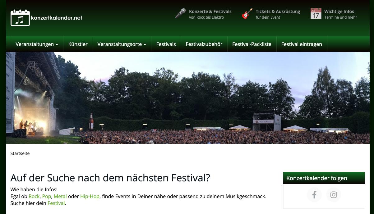 konzertkalender.net: Auf der Suche nach dem nächsten Festival? 1