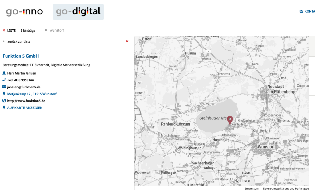 go-digital Karte Region Wunstorf